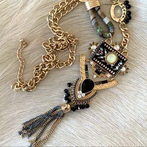 Super cool & funky black & gold tassel necklace